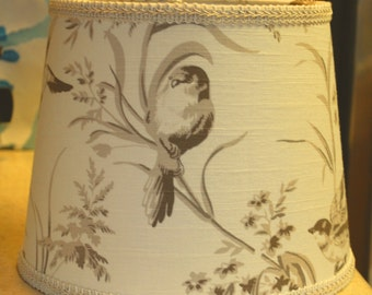 Custom French Country Bird Lamp Shade Lampshade--Beige, Cream, Taupe and Brown