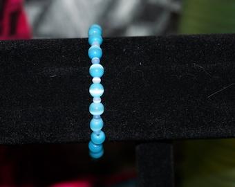 sky blue cats eye  bracelet with cat charm