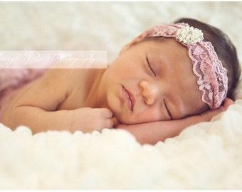 Baby Lace Turban Headband. Baby Headband Lace Crystal