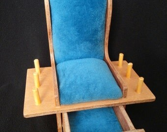 Vintage Wooden Rocking Chair Pin Cushion with Drawer