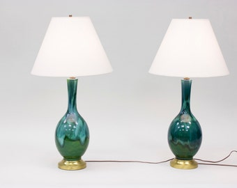 Pair of Mid Century Table Lamps // Drip-glazed Ceramic // 1960s