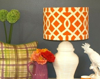Large Australian Made Drum Lampshade, Geometric trellis Pattern, 38cmx26cm, Available in 2 Colours and 2 Fittings, Made to Order 1-2 weeks