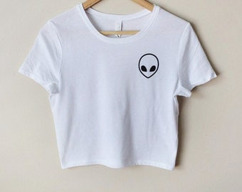 Alien Cropped Top - White