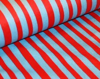 Cherry and Turquoise Cat in the Hat Stripes Minky Shannon Fabrics and Robert Kaufman Dr. Seuss