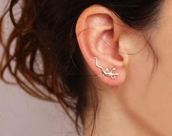 Gold  lizard Ear Cuff ,   pin lizard  earrings ,    , Ear Climber , lizard jewelry, gecko jewelry, Nickel FREE