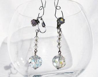 Swarovski Crystal Clip On Drop Earrings