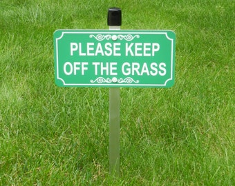 """4"""" x 8"""" Keep Off Grass lawn sign, Engraved """"Please Keep Off The Grass"""" FREE SHIPPING"""