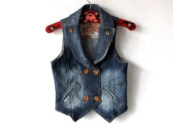 Women's  Blue Denim Jean Vest Sleeveless Vest Top Small Size