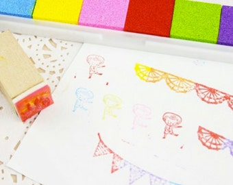 6 colored stained stamp pads