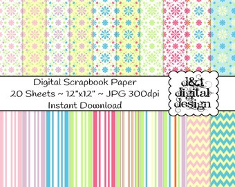 33% OFF DIGITAL SCRAPBOOK Paper, Multi Color Flowers Stripes Chevron Printable Paper Digital Files, Digital Scrapbook Supplies, Card Making