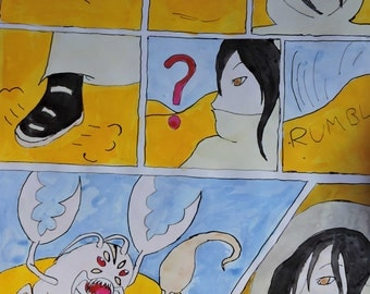 Large Ink Painting Comic: In The Desert