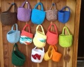 Crochet basket, doorknob or hook organizing, hanging basket organizer with handle in blue, purple, yellow, green and more, soft and colorful