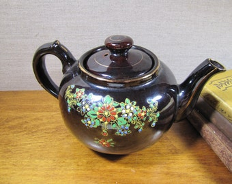 Vintage Brown Teapot - Hand Painted Floral