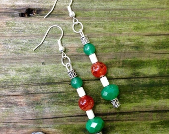 Green, Orange, and Natural Beaded Boho Earrings