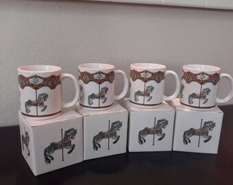 Vintage Carousel Horse Mugs set of 4