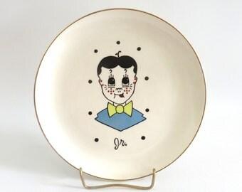 Vintage Sica Style Junior Plate, Freckle Face Boy, Cartoon Boy in Bowtie