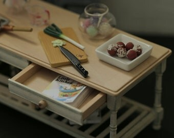 Handmade Dollhouse Furniture  Kitchen - Kitchen Table  - 1/12 Dollhouse Miniature Scale