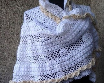 CUSTOM Shawl for wedding, White Shawl, Cape crocheté, Wedding Shawl, Bridal Cape White Wedding Shawl, Bridal Capelet,Bridesmaid Shawl