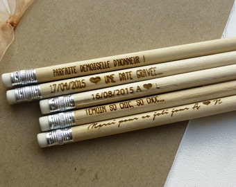 lot 90 pencils wood engraved and personalized