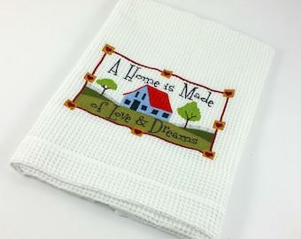 A Decorative White Waffle Weave Tea Towel with Sentimental Embroidered Verse, Great House Warming Gift