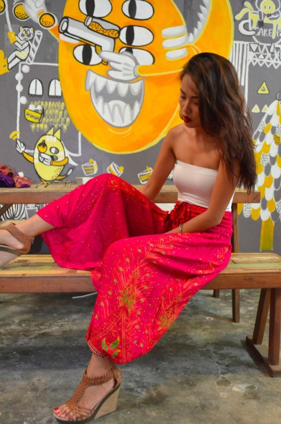 Thai Harem Pants Hippie Aladdin Jumpsuit Trousers Genie Bohemian Gypsy Festival Pink Peacock