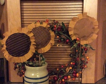 Set of 3!! Primitive sunflower pokes/crock pokes