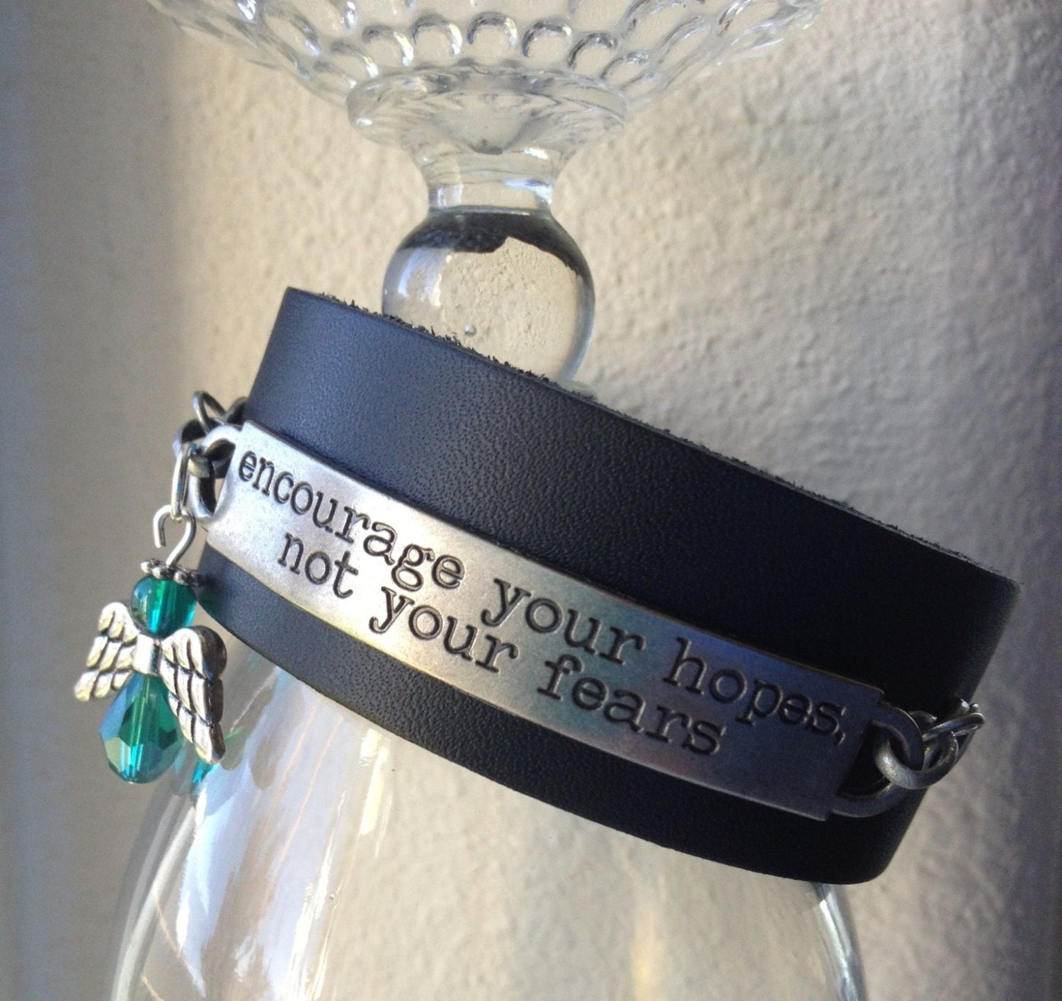 inspirational quote leather cuff bracelet by
