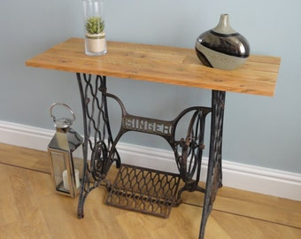 Sewing Machine Table made from a vintage cast-iron Singer Sewing Machine and waxed pallet wood