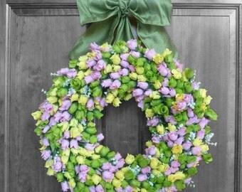 Rose Wreath, Spring Wreath, Spring Decor, Front Door Wreaths, Outdoor Door Wreath, Wedding Wreath, Front Door Decorations