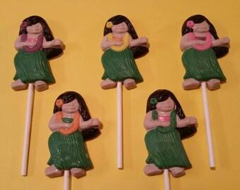 12 Chocolate Hula Girl Lollipops