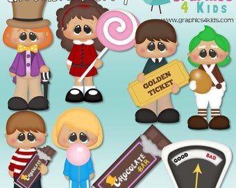 Chocolate Factory Willy Wonka Digital Clipart - Clip art for scrapbooking, party invitations - Instant Download Clipart Commercial Use