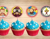 """Curious George Cupcake Toppers - Curious George Birthday Party Tags -Curious George Circle Favor Tags 2"""""""