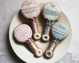 10 Rattle Baby Shower Biscuit