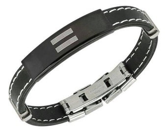 Black rubber and stainless steel equality bracelet with clasp