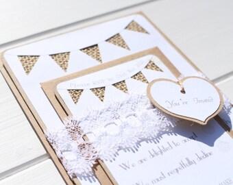 Burlap and Lace Bunting Wedding Invitation - Rustic Wedding - Country Wedding