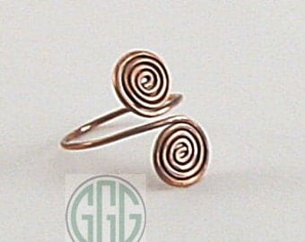 Adjustable Ring - Patinated Copper Spirals (R034)