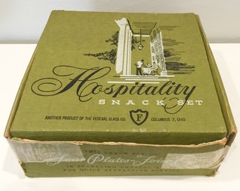 vintage 8 pc. Hospitality snack set from Federal Glass Company - ORIGINAL BOX