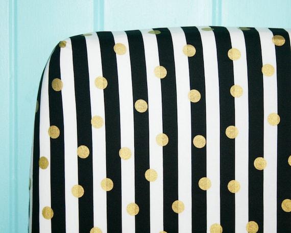 Drap housse lit b b noir et blanc d pouill avec or dots for Drap housse traduction