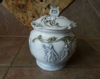 Vintage Royal Sealy Greek Roman Craces Muses, Covered Vase,