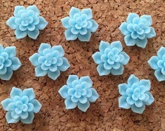 Cute Blue Push Pins- set of 10 - baby shower, bridal shower, wedding thumbtack, hostess gift, pretty thumbtacks