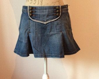 Vintage Diesel military style denim mini skirt