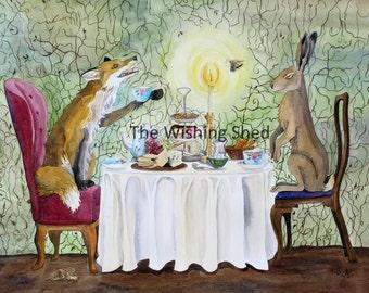 Good Company Fox hare watercolour art print garden tea party by Rachel Austin