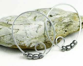 Silver Hoop Earrings, Pair of Spiral Earrings, Sterling Silver, 18, 19 or 20 Gauge, Minimalist, Silver/Grey beads, With or without beads