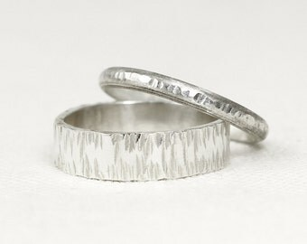 Wedding Ring Set, Sterling Silver, His and Hers, Textured, Hammered, Wedding Band Set, Wide Band. Brushed Silver