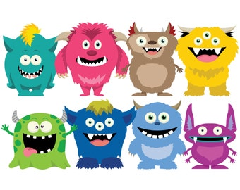 MONSTERS 2 Clip Art, Cute Monsters Clip Art Set / Instant Download