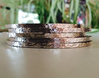 Chunky hammered bangle