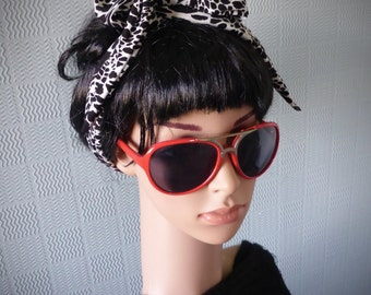 black and white animal print hair scarf headband head scarf tie in the vintage 50's rockabilly style