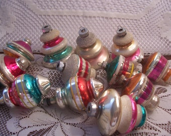 Twelve Shiny Brite Lantern Shape Christmas Ornaments