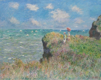 "Claude Monte  ""Cliff Walk at Pourville"" 1882 Reproduction Digital Print Ocean Cliffs Walking Wall Hanging"