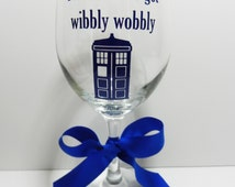 Wine Glasses, Dr. Who, Tardis Inspired Wine Glass